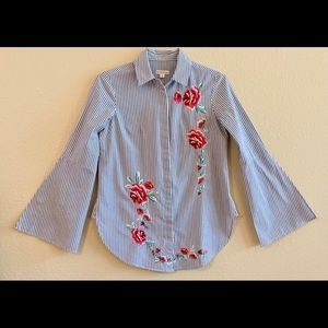 Blouse - Small - Embroidered - Blue/White Stripe